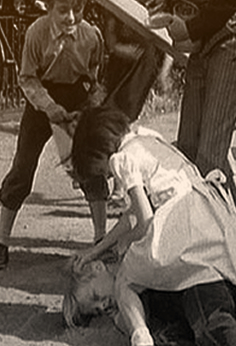 Scout wins her fight, in To Kill A Mockingbird. The little girl was told off for acting like a little boy.