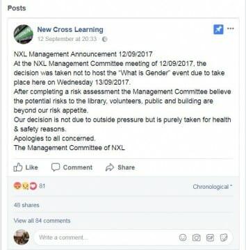 New Cross Learning Centre announcement - FairPlayForWomen.com