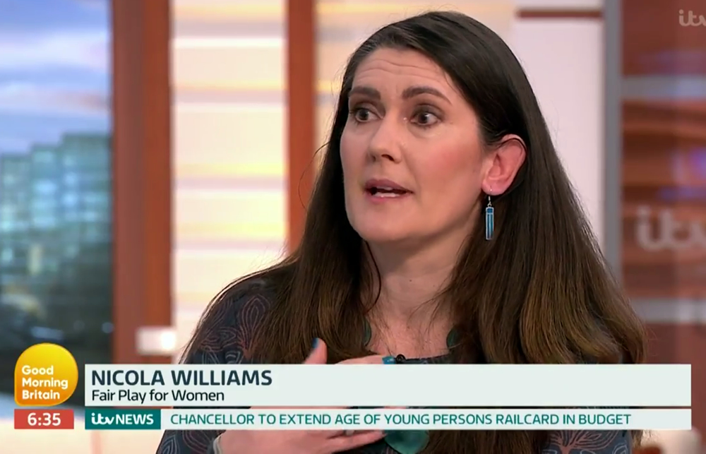 Trans Prison Swap on Good Morning Britain. Dr Nicola Williams discussed transgender women in prison with Piers Morgan, Susanna Reid and India Willoughy. FairPlayForWomen.com