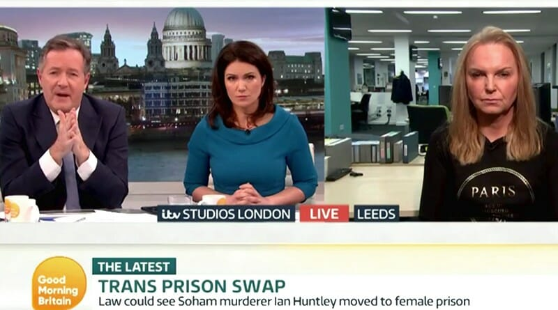 Trans Prison Swap on Good Morning Britain. Piers Morgan and Susanna Reid discuss transgender women in prison with India Willoughy. FairPlayForWomen.com