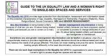 The Equality Act 2010: A woman's right to single-sex spaces and services