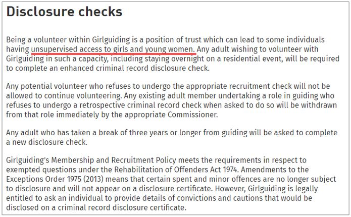 Girlguiding statement on requirement for DBS checks