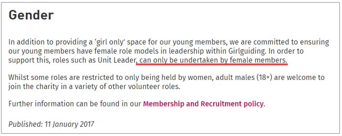 Statement on Girlguiding's transgender policy.